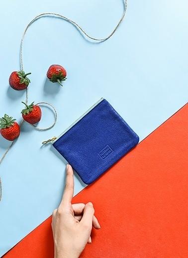 Leather & Paper Deri Mini Çanta Mavi